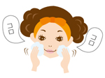 たっぷり泡だったら、泡で顔を包み込むようにやさしく洗顔
